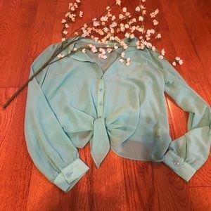 Last call! Long Sleeve Sheer Button Down Shirt